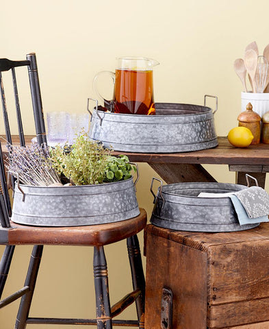 Galvanized Bucket Trays Set of 3 Unique Large Rustic Country Farmhouse Decor