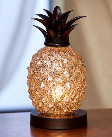 Glass Pineapple Table Lamp Amber Glow Coastal Beach Tropical Home Decor NEW