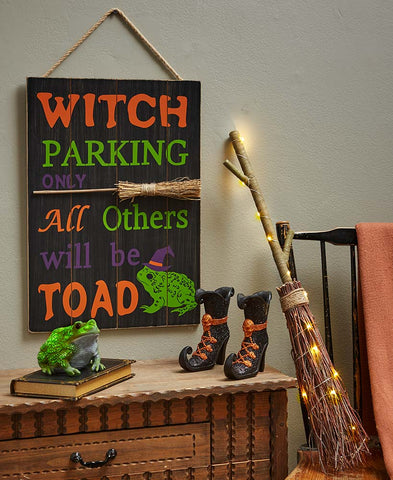 Halloween Fun Witch Decor & Accents Glow in the Dark LED Sign Broom Shoes Toad