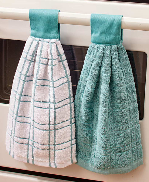 Hanging Kitchen Towels Set of 2 Tab Top Dishes Cleaning Absorbent Cotton  Terry