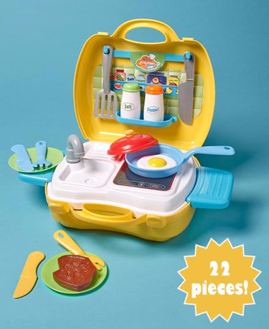 Kitchen Play Set Portable Carry 22 Pieces Make Believe Cook Serve Case Pretend