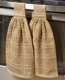 Set of 2 Hanging Kitchen Towels Tab Top Dishes Cleaning Absorbent Cotton Terry