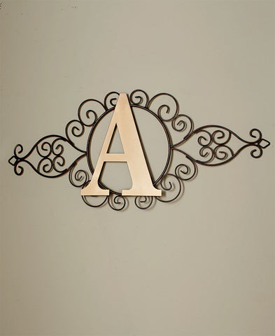 Metal Monogram Wall Art Initial Indoor Rustic Finish Scroll Work Large Goldtone