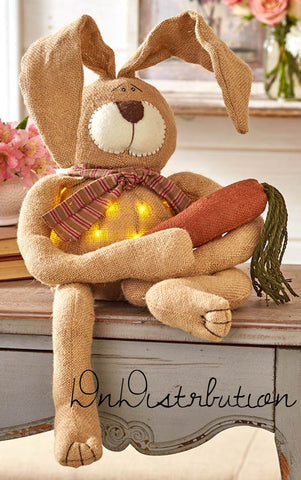 "Light Country Bunny 33"" Postionable Ears 20 LED Lights Burlap & Polyester"