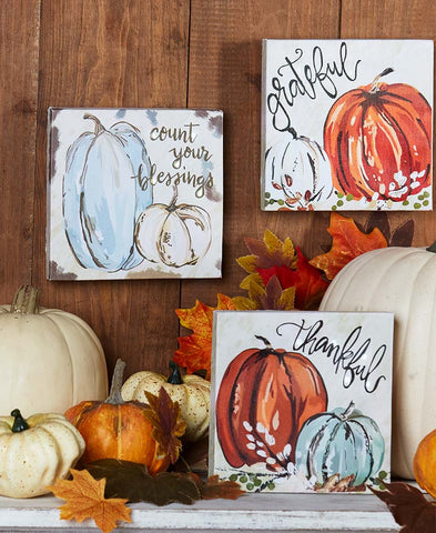 Lighted Harvest Box Sign Painted Canvas Sentiment Blessings Thankful Grateful
