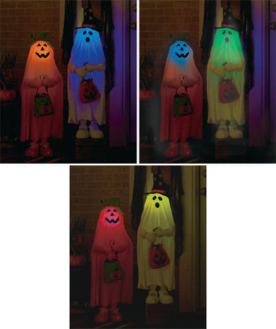 Halloween Trick-or-Treater Color Changing Ghost Pumpkin Porch Yard Decor