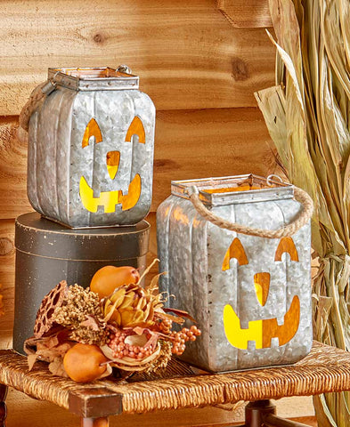 Metal Lighted Jack-O'-Lantern Galvanized w/LED Candle Jute Rope Handle Pumpkin