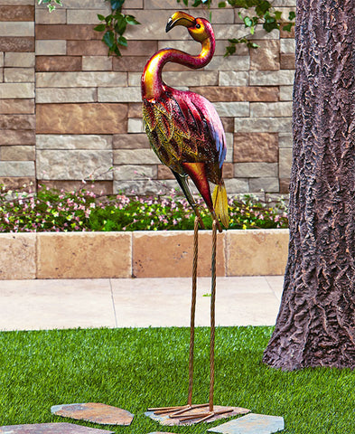 Colorful Metallic Bird Yard Decor Flamingo Peacock Owl or Rooster