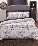 Eiffel Tower Print Bed Set