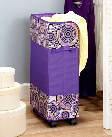Rolling Laundry Hamper Purple Portable Space Saving Tall Thin Dorm Kids Teens