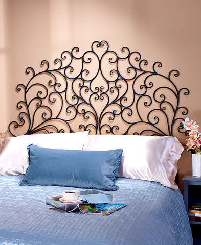 Headboard Queen or King Wall Mounted Metal Scroll Medallion Bedroom Decor Light