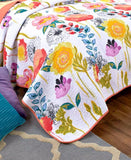 Floral Watercolor Quilt Bedding Full Queen Size Reversible Cozy Quilted Teen