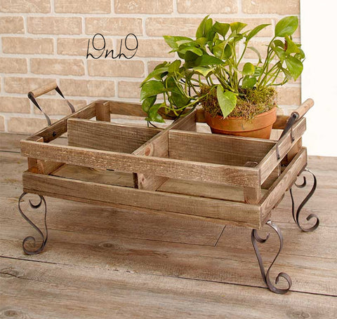 Rustic Divided Plant Cart Reclaimed Wood Look Distressed Finish Porch Yard Decor