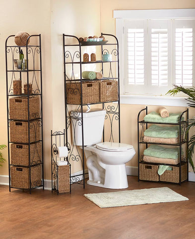 Seagrass Accent Bathroom Storage Black Metal Scroll-work Baskets Shelves Tower