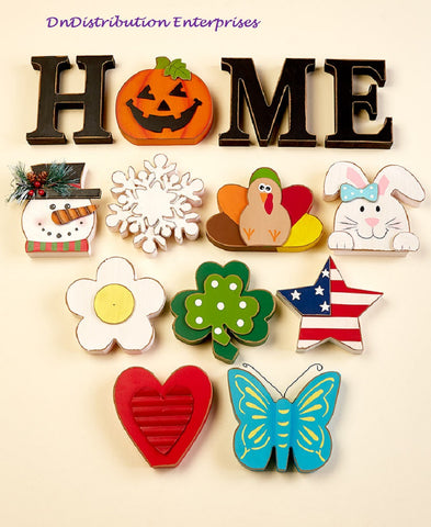 Seasonal Interchangeable Home Sign 10 Icons Seasons & Holidays Sentiment Decor