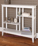 Slim Space Saver Console Table Brushed Metallic Finish Display Shelves Wooden