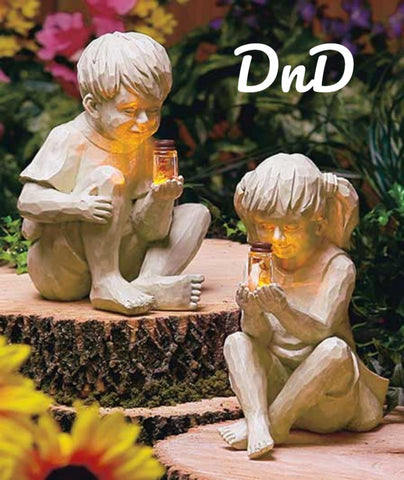 Solar Child Children Kids Statue Boy Girl with Firefly Jar Lawn Garden Decor
