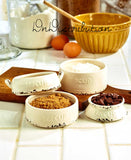 Measuring Cup Set Milk Can Dolomite Ivory Distressed Farmhouse Style Kitchen