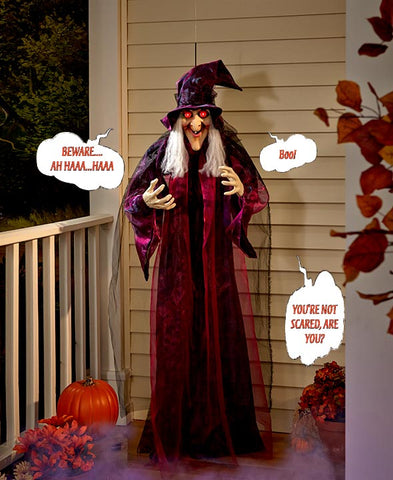 Talking Witch Halloween Decor Sound & Touch Activated Pose-able Hanging 71""