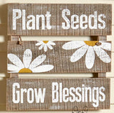 3 Daisy Wall Flowers or Wood Sign Shelf Rustic Country Distressed Wall Decor