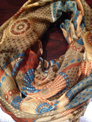Antique Vintage Styled Lace Print Sheer Infinity Scarf Shawl