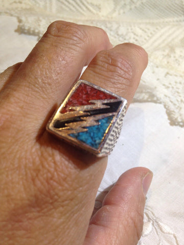Vintage Southwestern Turquoise Coral Lighting Bolt Mens Ring