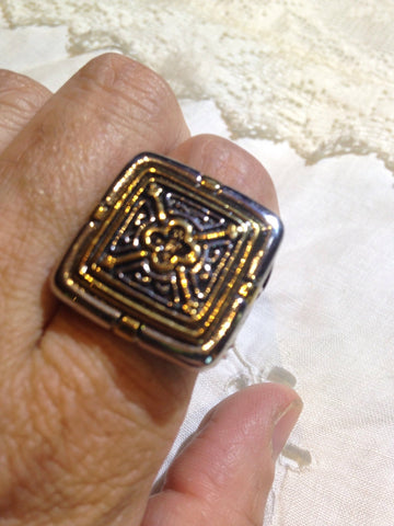 Vintage Gothic Golden Silver Stainless Steel Cross Mens Ring