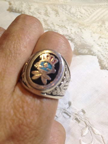 Vintage Native American Style Southwestern Turquoise Stone inlay Men Ring
