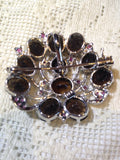 Vintage Handmade Smoky Topaz and Genuine Ruby 925 Sterling Silver Rhodium Brooch necklace
