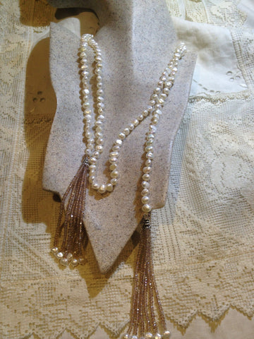 hand wrapped white pearl tassel lariat necklace