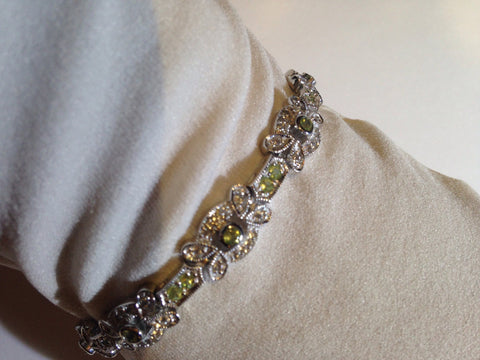 Vintage Handmade Genuine Peridot Real white Sapphire Rhodium Finished 925 Sterling Silver Tennis Bracelet