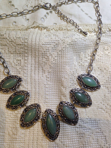 Vintage Green Genuine Aventurine Silver Finish Necklace