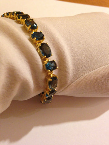 Handmade Genuine Blue Topaz Gold Rhodium Finished 925 Sterling Silver Tennis Bracelet
