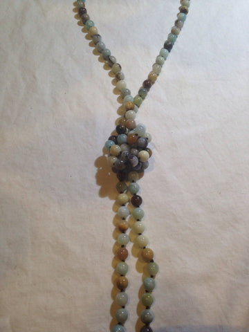 hand knoted vintage  mixed color Amazonite beaded necklace