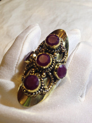 Vintage genuine Ruby Brass knuckle adjustable ring
