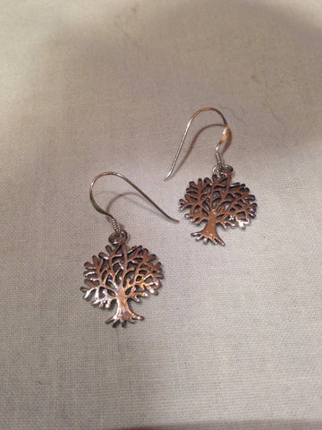 Vintage Handmade 925 Sterling Silve Tree of Life Deco Earrings