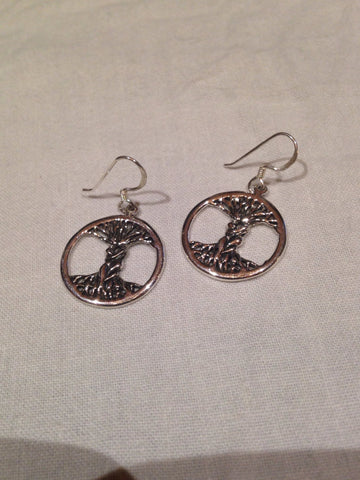 Vintage Handmade 925 Sterling Silver Tree of Life Deco Earrings