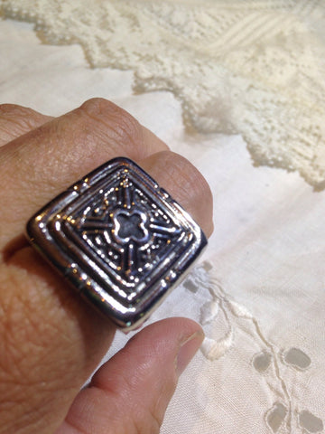 Vintage Gothic Silver Stainless Steel Cross Mens Ring
