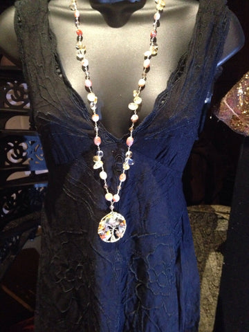 Nemesis hand wrapped pearl and crystal tree of life necklace