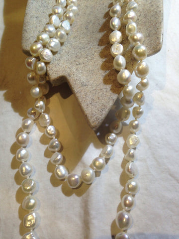 hand wrapped pearl and crystal necklace