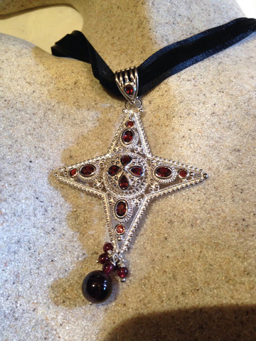 Nemesis Vintage Handmade 925 Sterling Silver white Gold Finish Genuine Garnet Cross  Antique Pendant Necklace