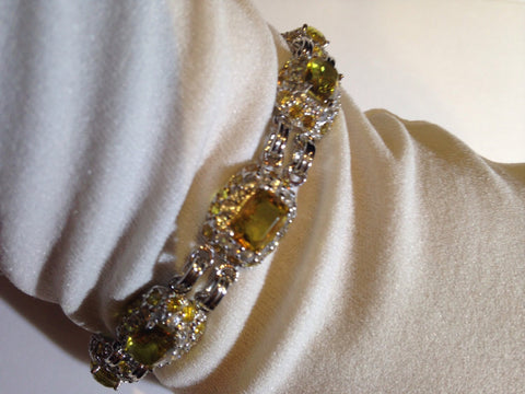 Vintage Gold Citrine Bracelet 925 Sterling Silver Statement Tennis