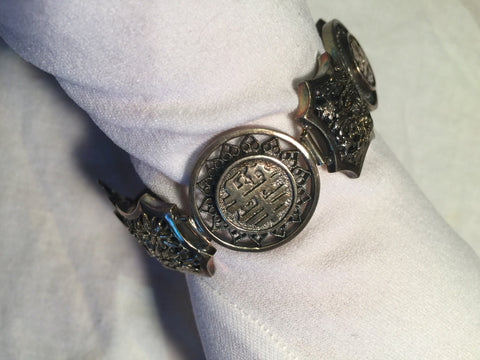 Vintage Sterling Silver Filligree Chinese Lucky Bracelet