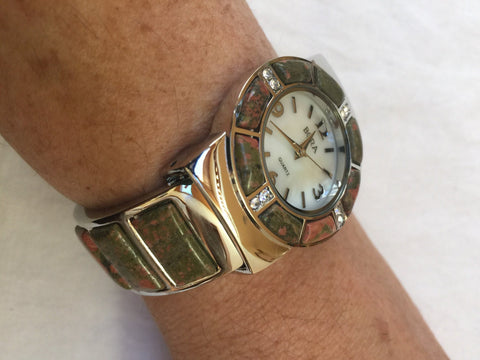 Vintage Unikyte gemstone bangle bracelet watch