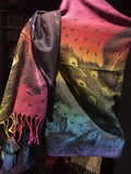 Nemesis Vintage Peacock feather Brocade Pashmina Scarf Wrap shawl