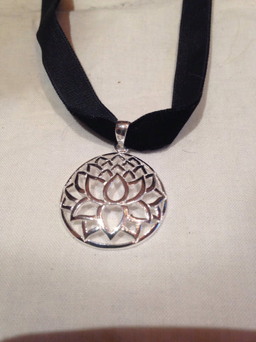 Ancient entwined Lotus Flower dangle pendant