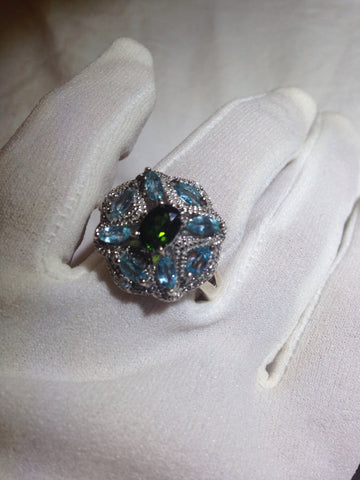 Vintage geniune blue topaz Chrome Diapside 925 sterling silver Ring