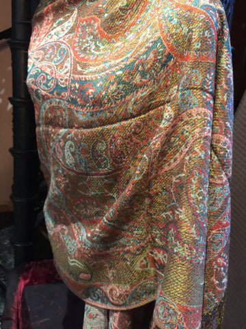 Vintage Green and Beige Paisley Brocade Pashmina Scarf Wrap shawl