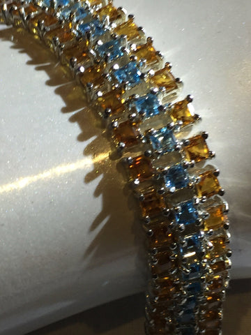 Handmade topaz Citrine and blue topaz Rhodium Finished Sterling Silver Tennis Bracelet