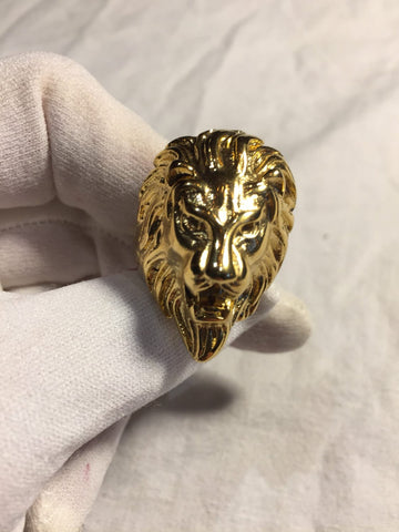 Vintage Gothic Gold Finished stainless steel Lion Head Leo Men Ring